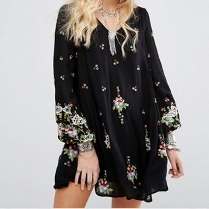 Free People Black Embroidered Oxford Shift Dress
